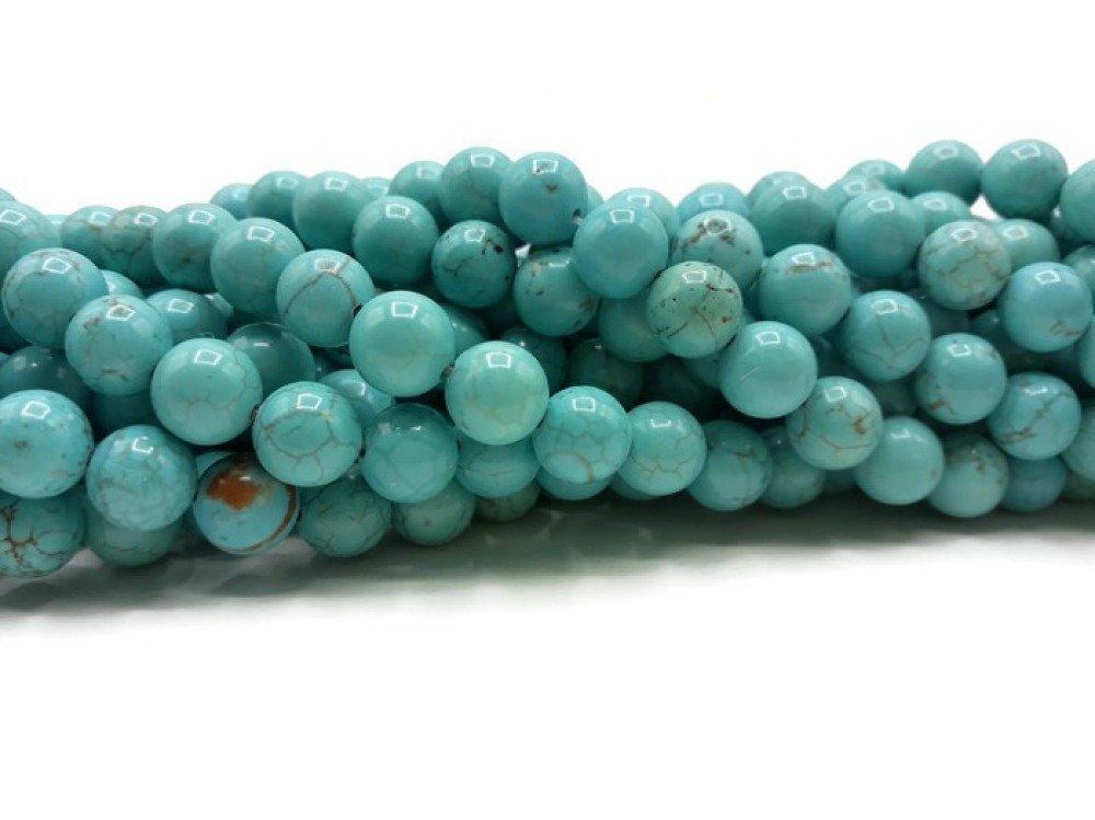 Turquoise - Perles rondes de 8 mm - Stand de 39 cm - Pierre synthétique - A418