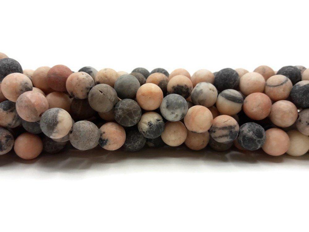 Jaspe Zèbre givré 8 mm - 40 perles - Pierre naturelle non teinte- Pierre de Gemme -A426