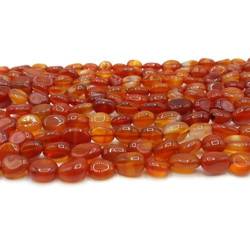 Cornaline - perles pépites - fil de 40 cm - pierre naturelle