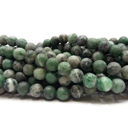 Jade vert - perles rondes de 8 mm - fil de 38 cm - pierre naturelle