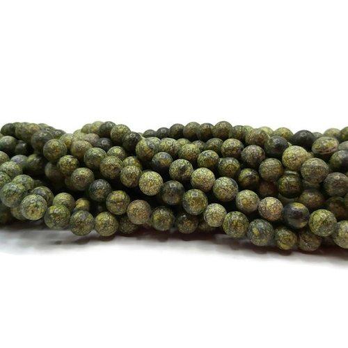 Serpentine - perles rondes de 8 mm - fil de 38 cm - pierre naturelle