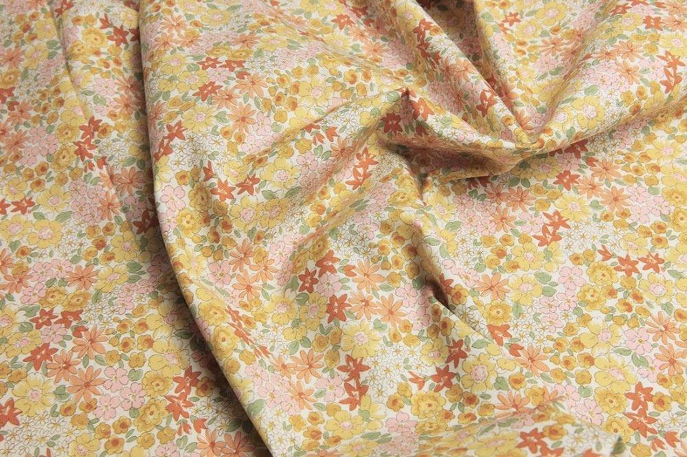 Tissu Japonais style liberty jaune