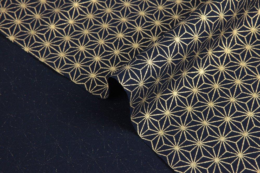 Tissu Japonais - Asanoha doré fond bleu marine, asanoha, tissus japonais, asanoha doré, tissu japonais