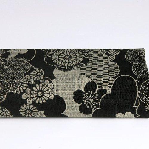 Tissu japonais nuages fond noir
