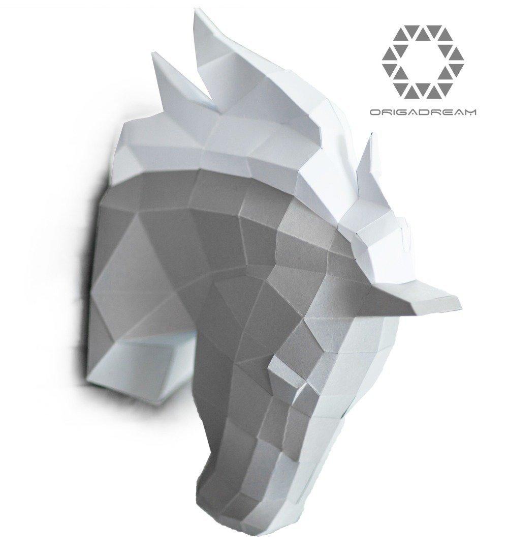 Trophée Tête De Cheval Papercraft Kit Diy Créations Papier