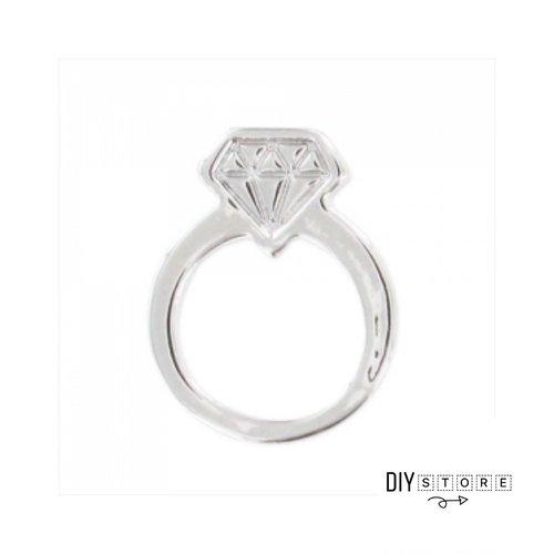 Breloque bague avec diamant argenté vieilli