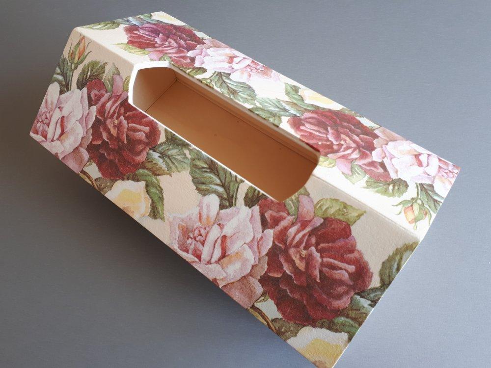 """Boîte à mouchoirs rectangulaire """"Maison des roses"""""""