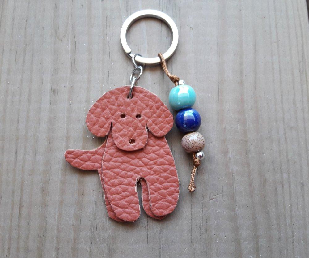 Porte clés  petit chien en cuir
