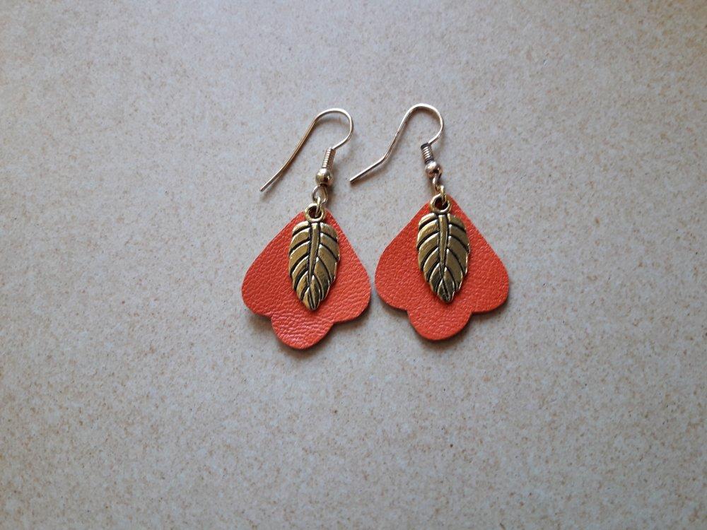 Boucles d'oreilles en cuir orange