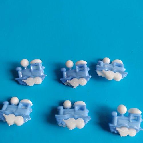 Lot de 6 boutons locomotive bleu myosotis