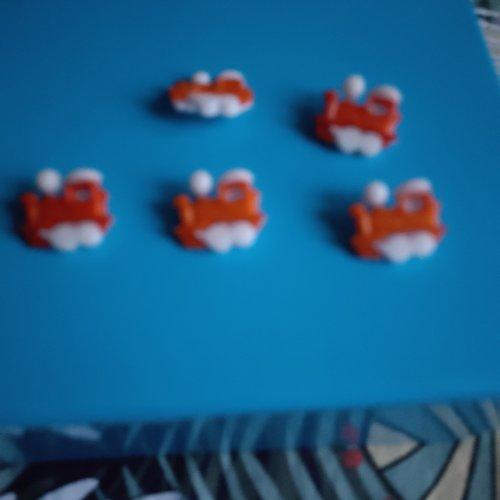 Lot de 5 bouton locomotive orange