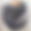 Grand snood  col écharpe femme - tricoté main - coloris gris irisé  beige - très doux et chaud en mohair
