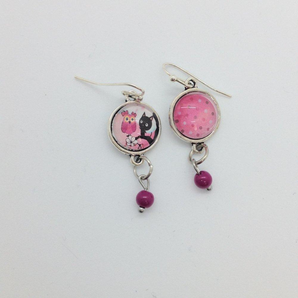 Boucles d'oreilles cabochon noir et rose argent pendantes chouette et chat