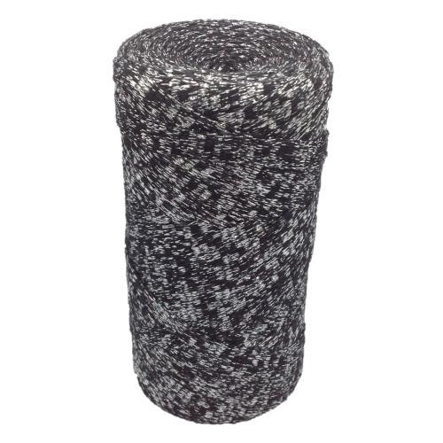 Bobine ribbon coton lurex, coloris  noir argent -  réalisation de sacs, pochettes, cabas