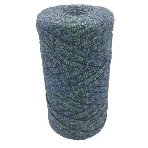 Bobine ribbon coton lurex, taupe turquoise -  réalisation de sacs, pochettes, cabas