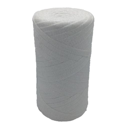 Ribbon coton lurex, blanc irisé -  réalisation de sacs, pochettes, cabas