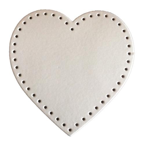 Fond de sac coeur ivoire, 20 x 18 cm