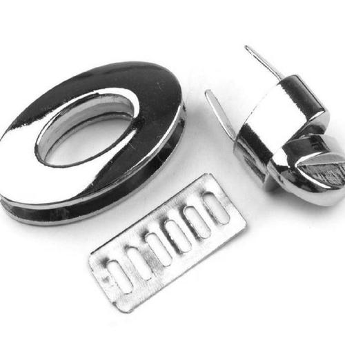 Bouton fermoir de sac ovale en métal argent