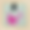 """Pendentif anneau """"tie&dye"""" (transparent et rose)"""