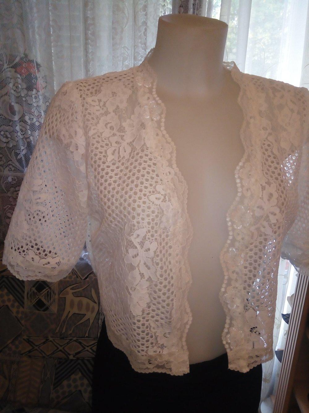 -Bolero en dentelle coton blanc manches mi  longues taille 40/42