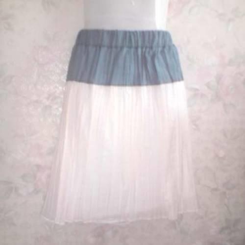 Jupe en voile de coton froissé blanc bleu taille 384042