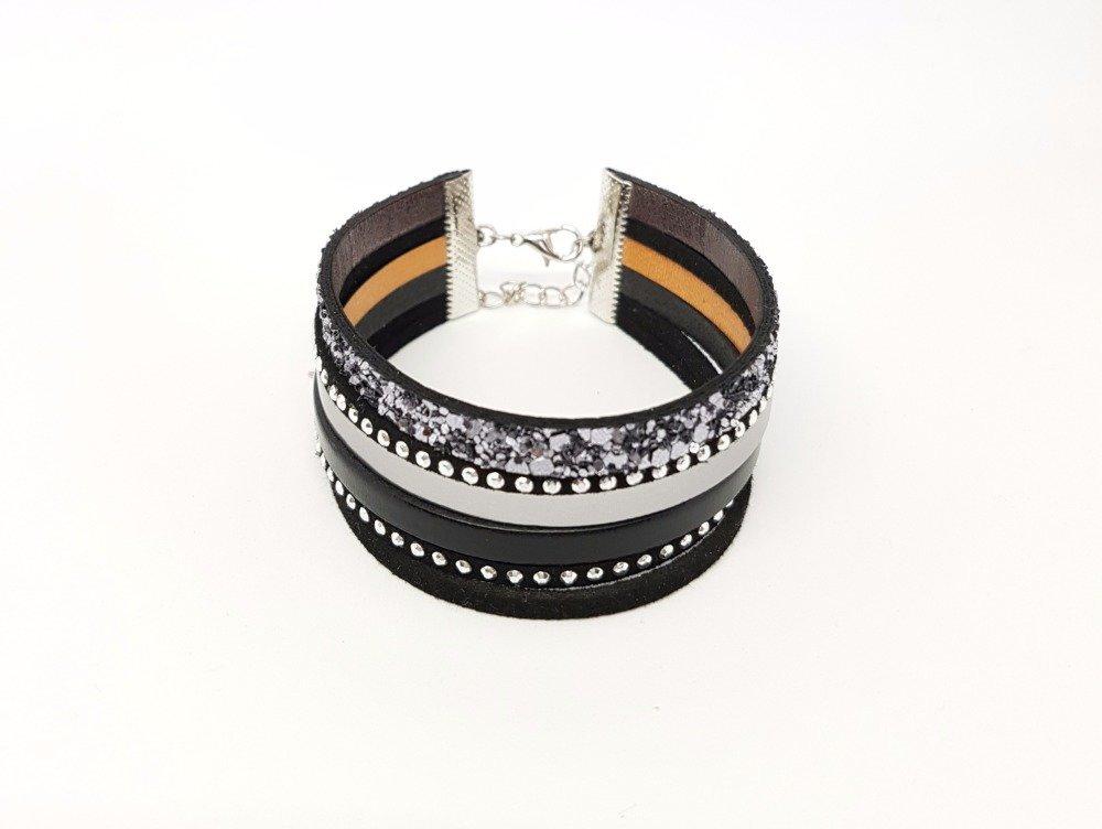 *Bracelet femme manchette paillettes noir et argenté cuir,simili et suédine strass mesure adaptable idée cadeau noël anniversaire fêtes