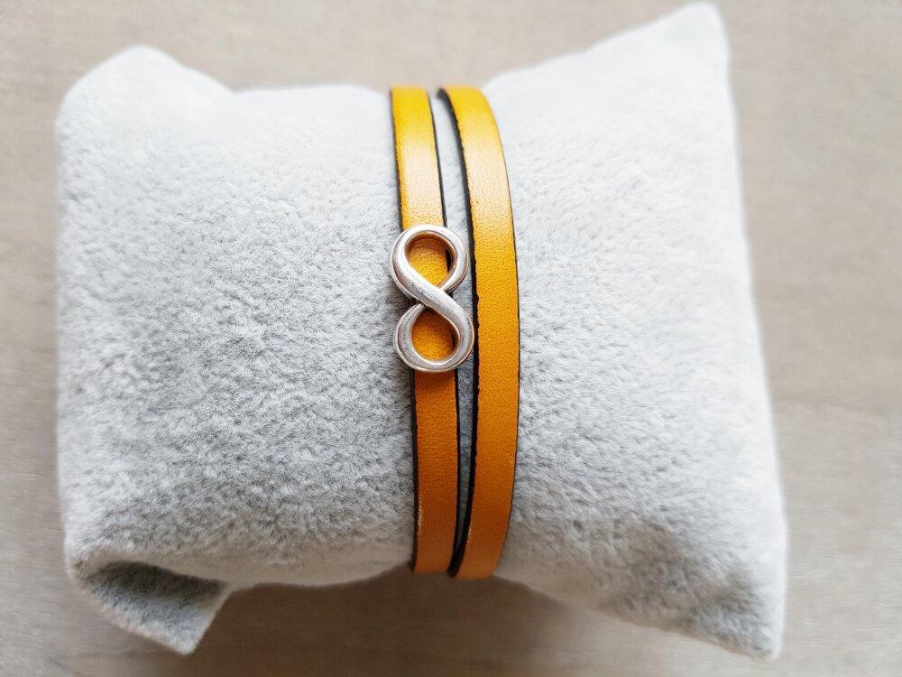 Bracelet femme passant infini double tour cuir jaune moutarde idée cadeau femme anniversaire noël fêtes