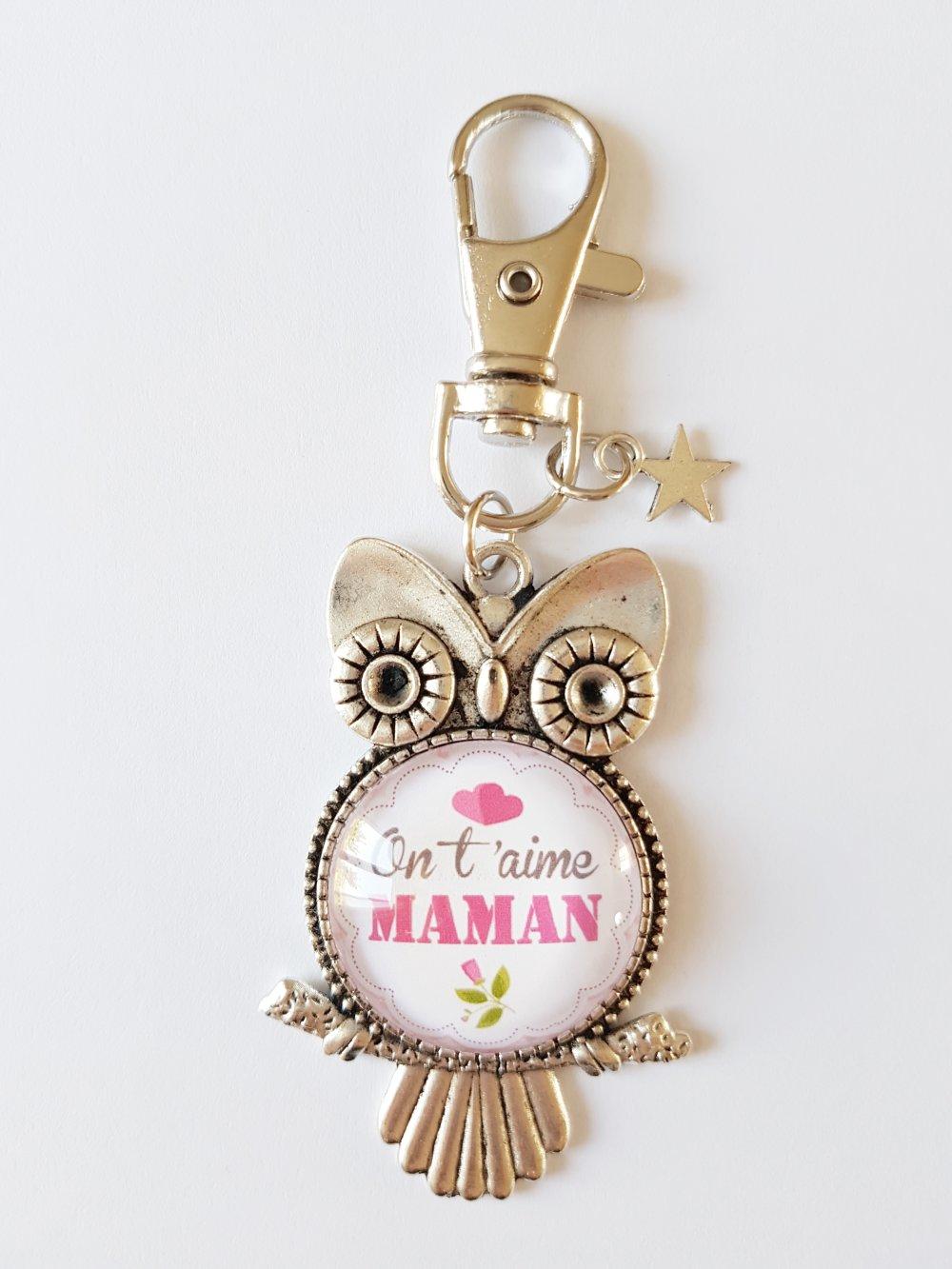 Porte-clef hibou chouette ON T'AIME MAMAN Idée cadeau maman noël fête des mères  anniversaire