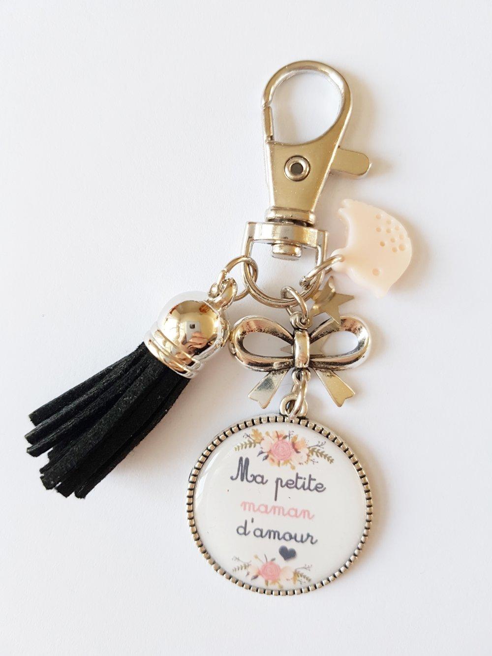 Porte clef ma petite maman d'amour étoile oiseau pompon noir rose