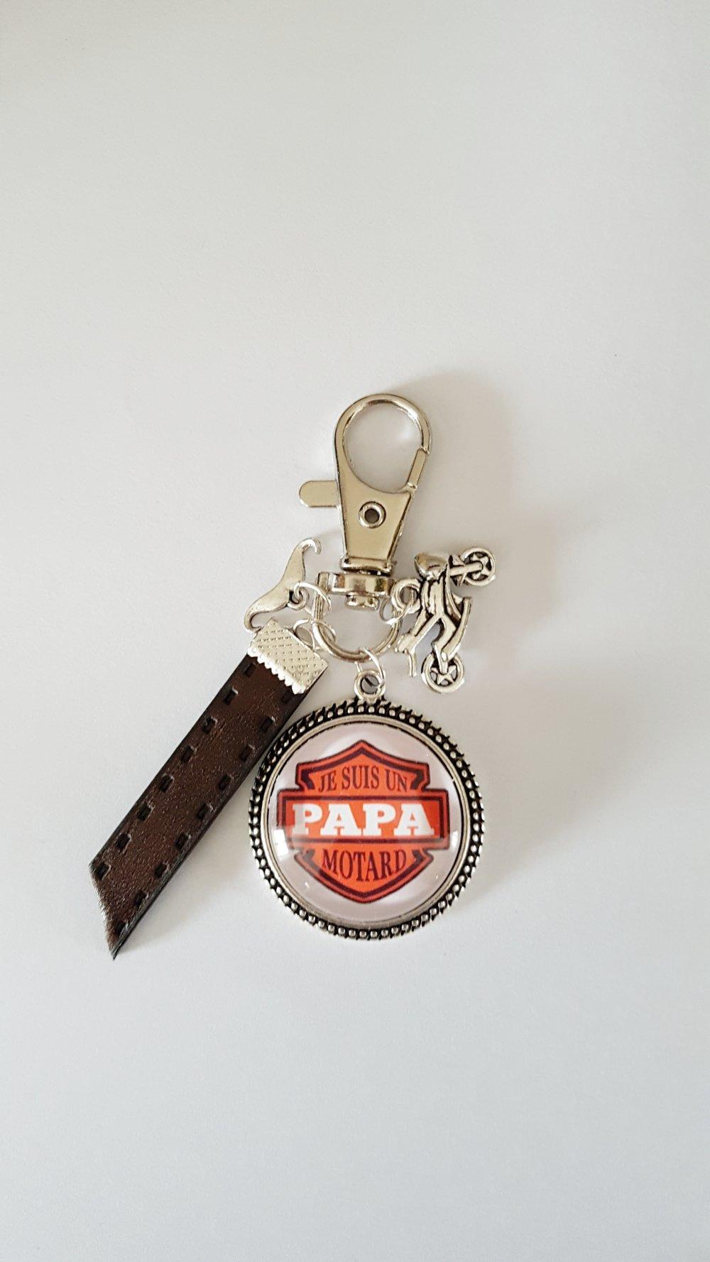 Porte-clef PAPA MOTARD moto cuir idée cadeau papa anniversaire fête des pères