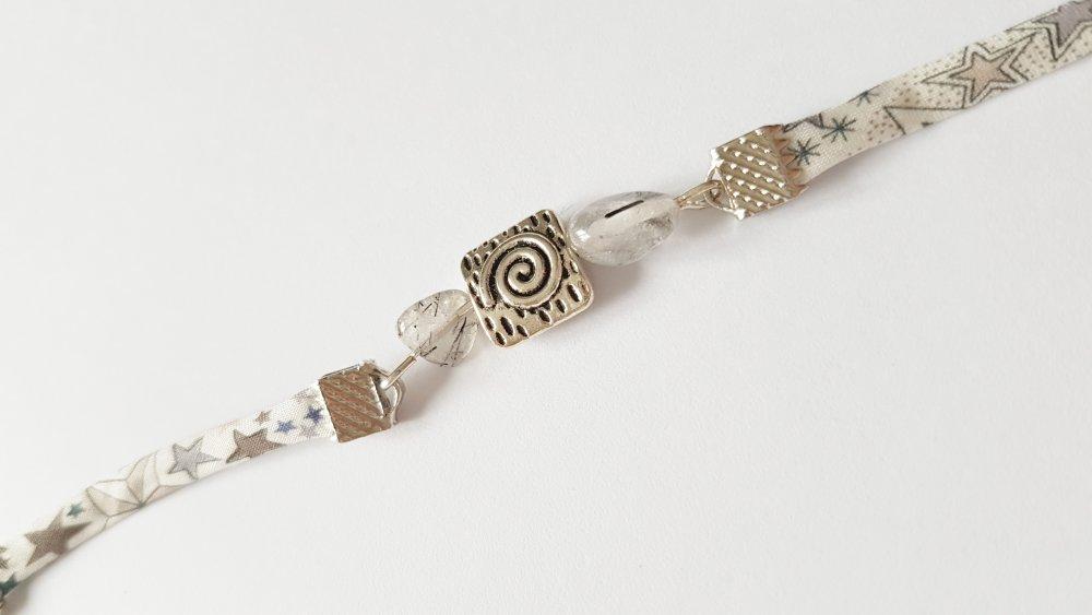 Bracelet liberty adelajda perle quartz tourmaline adaptable idée cadeau anniversaire fête des mères femme
