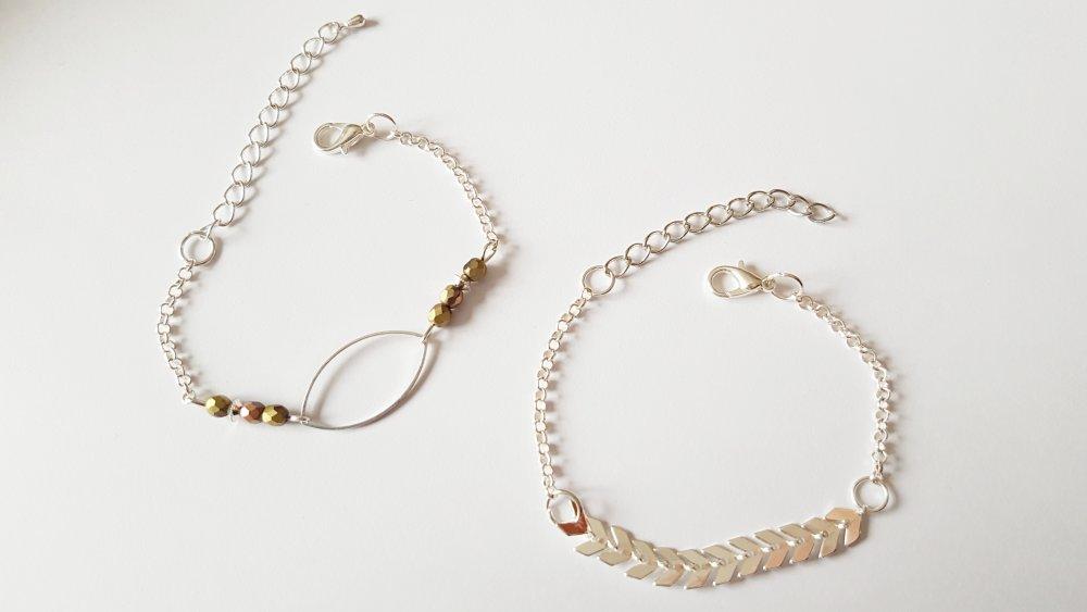 Bracelet - Ensemble de bracelets épi et perles gris bronze argentés - IDEE CADEAU ANNIVERSAIRE FEMME saint Valentin noël