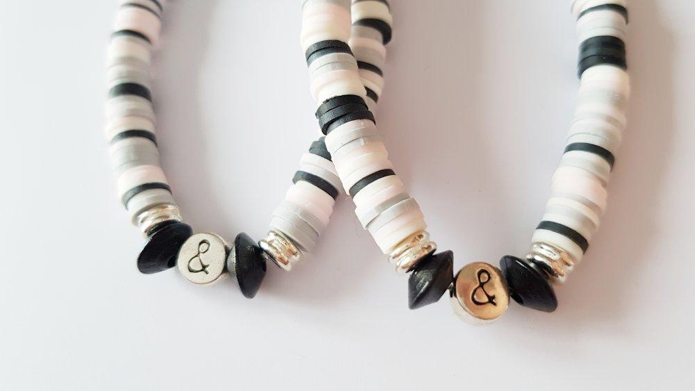 DUO MERE / FILLE / FILS Bracelets heishi rose clair gris et noir elastique - idée cadeau fête des mères anniversaire maman enfant