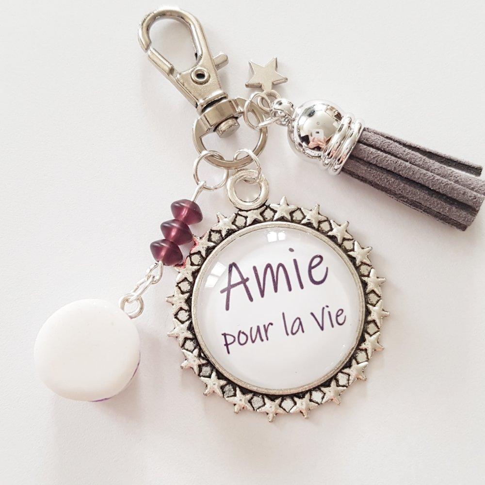 """Porte-clés """"amie pour la vie"""" cadeau d'amitié macaron étoile idée cadeau anniversaire noël fêtes"""