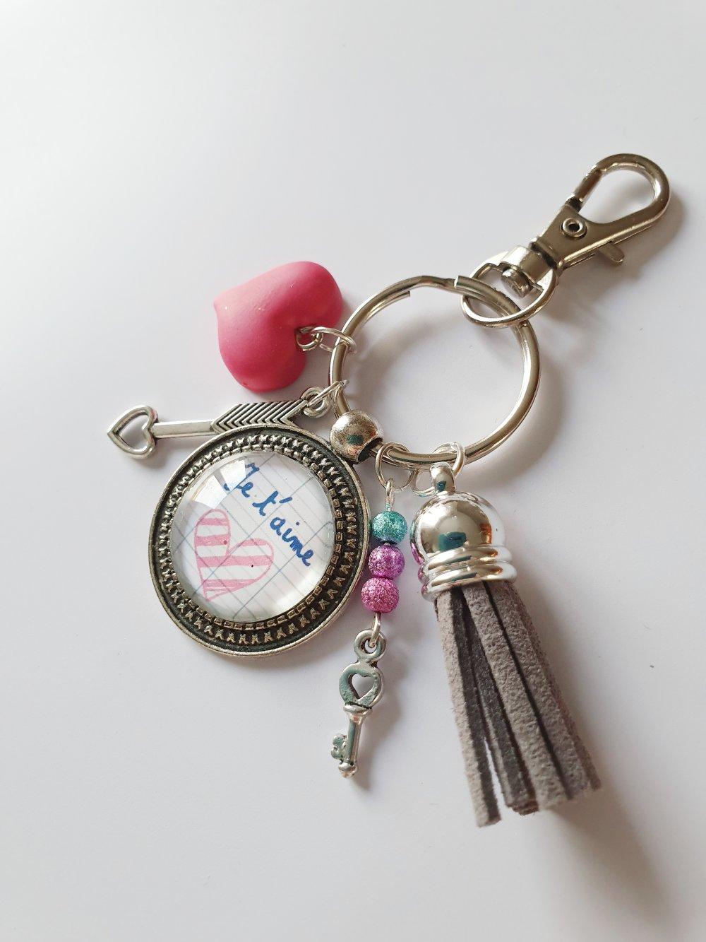 Porte-clef bijou de sac coeur fimo pompon JE T'AIME Idée cadeau SAINT Valentin amour homme femme