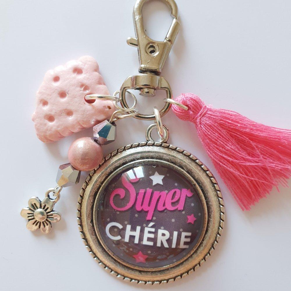 Porte-clef SUPER CHÉRIE idée cadeau saint Valentin amoureuse rose et gris