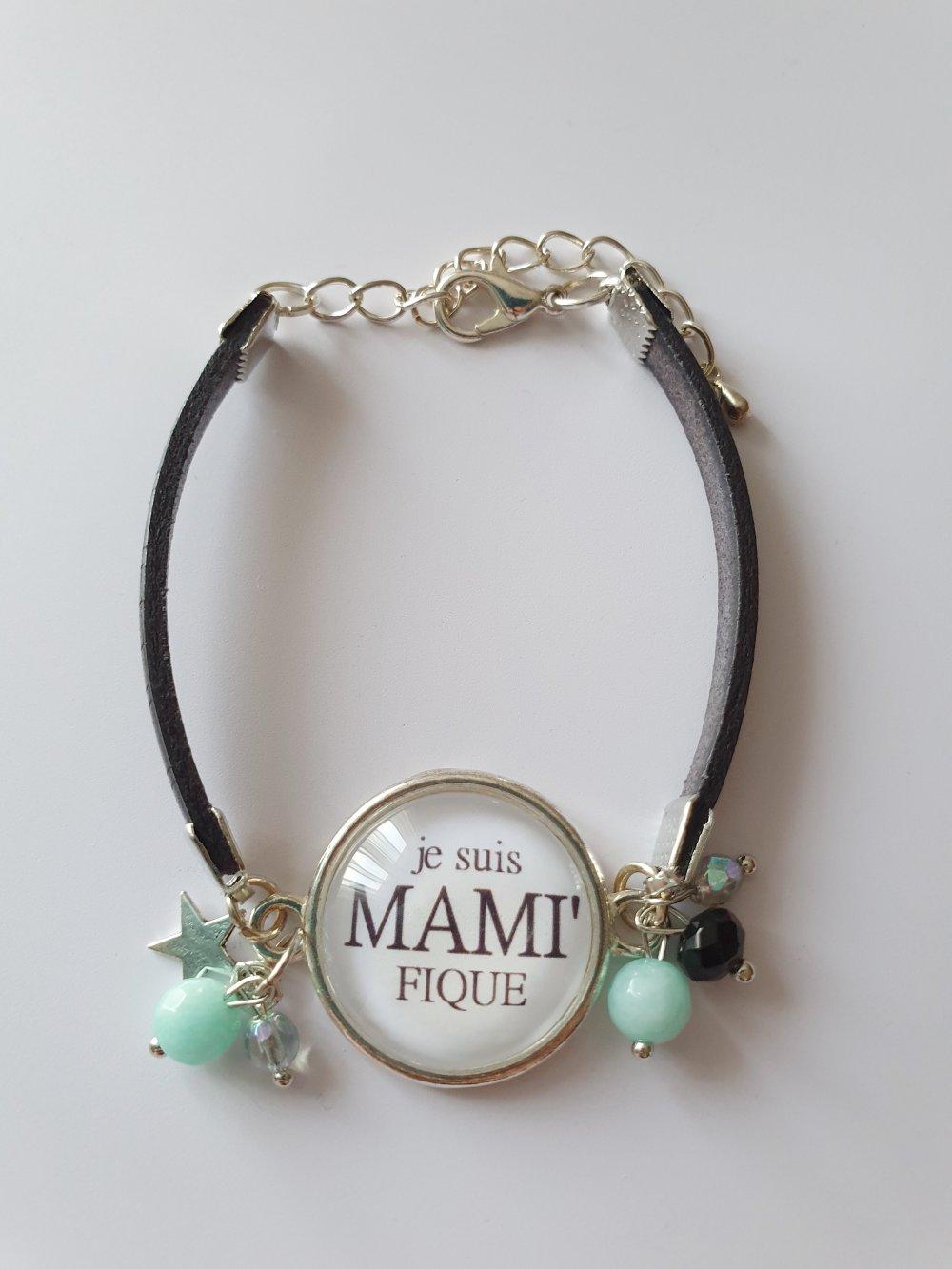 Bracelet mamie MAMI FIQUE cuir noir étoile taille adaptable idée cadeau fête des grand-mères