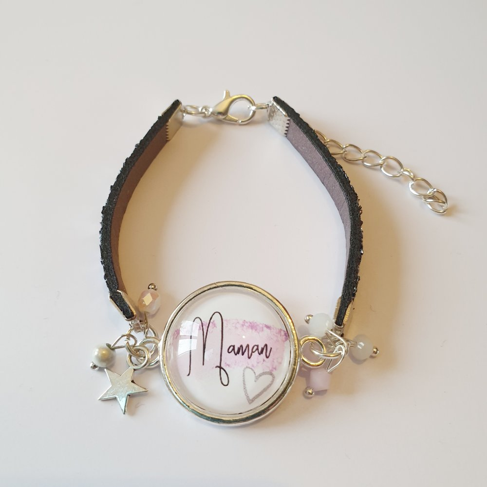 Bracelet MAMAN cuir pailleté gris étoile taille adaptable idée cadeau fête des mères