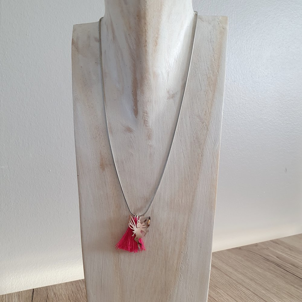 Collier enfant fée et pompon rose - idée cadeau anniversaire noël anniversaire fêtes Pâques