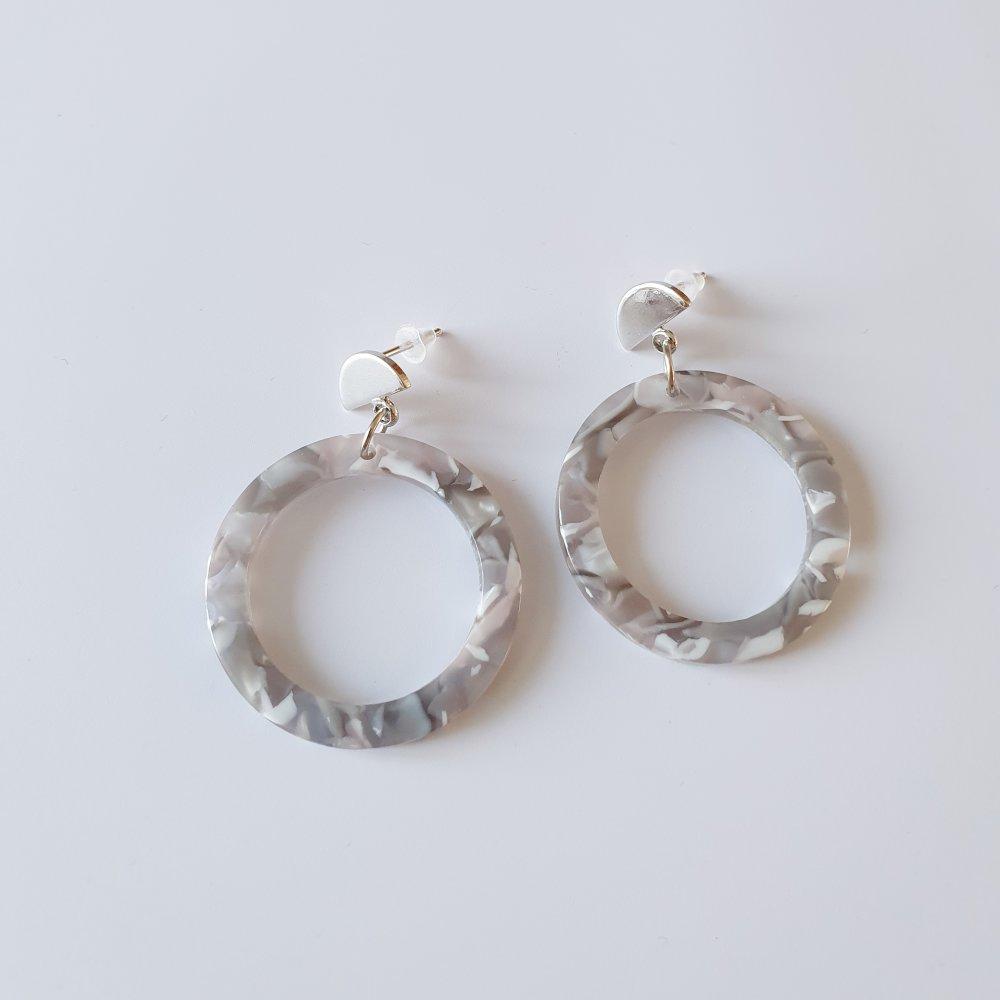 Boucles d'oreilles acétate argent 925 créoles gris taupe clou - idée cadeau femme anniversaire fêtes