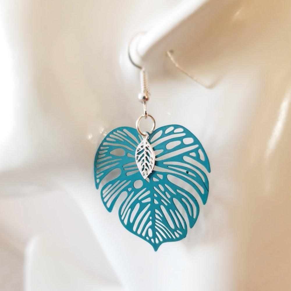 Boucles d'oreilles feuilles monstera vert bleu canard et argenté - estampe idée cadeau anniversaire femme