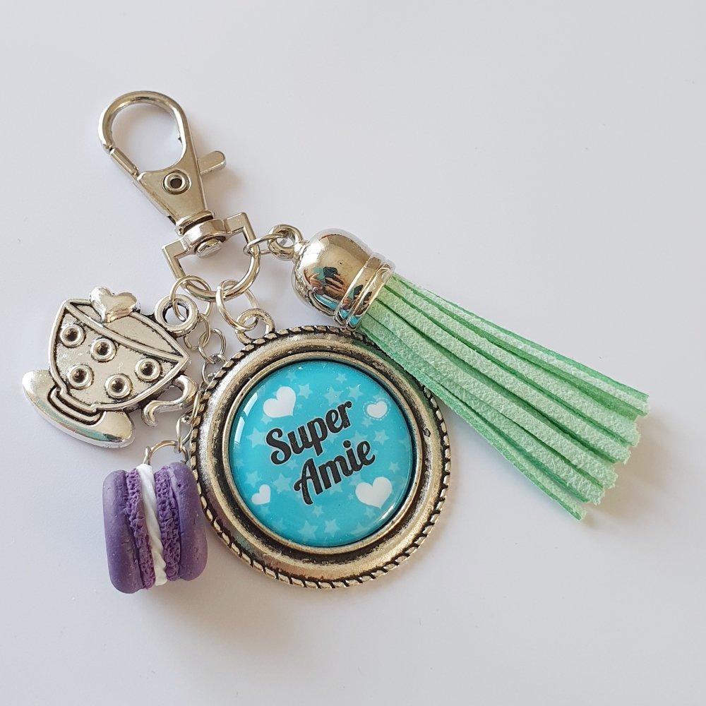 Porte-clés SUPER AMIE cadeau d'amitié macaron fimo tasse thé café pompon bleu vert idée anniversaire noël fêtes