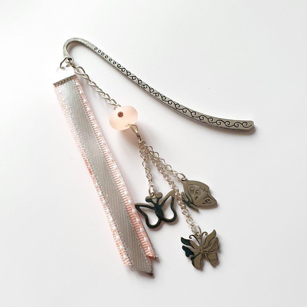 Petit Marque-page papillons rubans rose gris argenté idée cadeau anniversaire