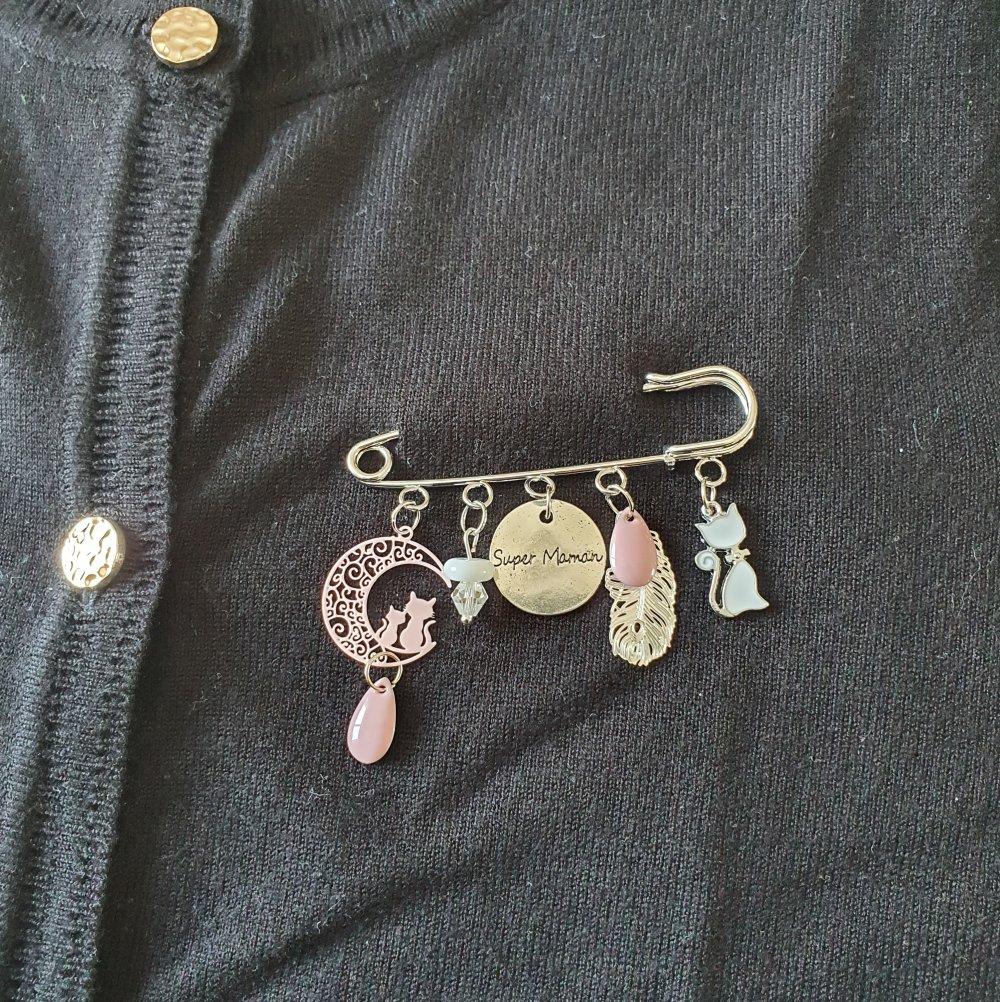 Broche super maman argenté rose chat épingle à nourrice Idée cadeau anniversaire fête des mères