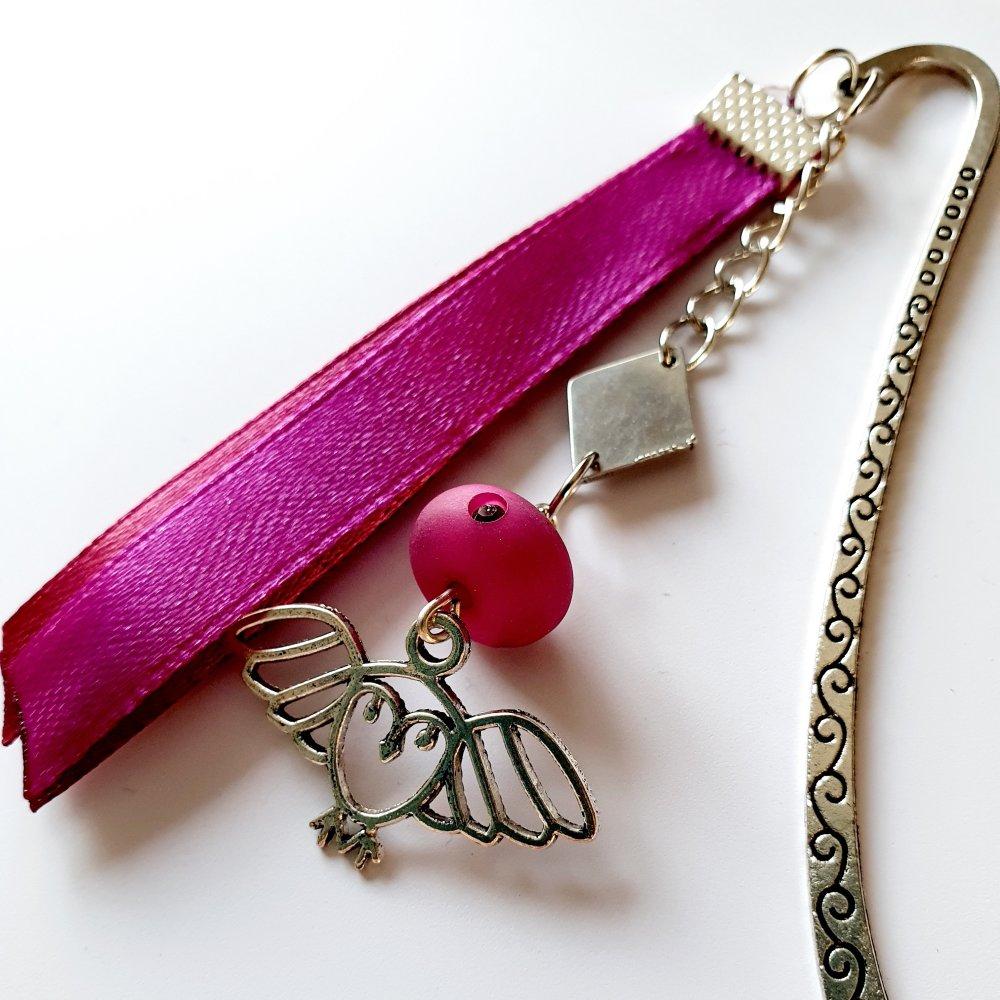 Petit Marque-page hibou chouette prune argenté idée cadeau anniversaire