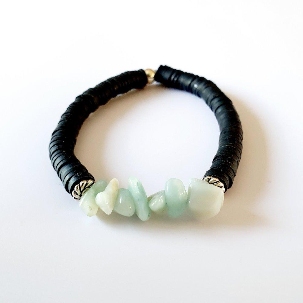 Bracelet heishi noir et aventurine verte - élastique - idée cadeau fête des mères anniversaire noël fêtes