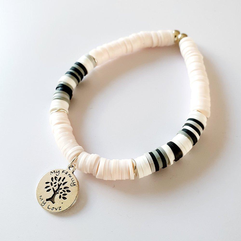Bracelet arbre de vie heishi blanc rosé - élastique - idée cadeau fête des mères anniversaire noël fêtes