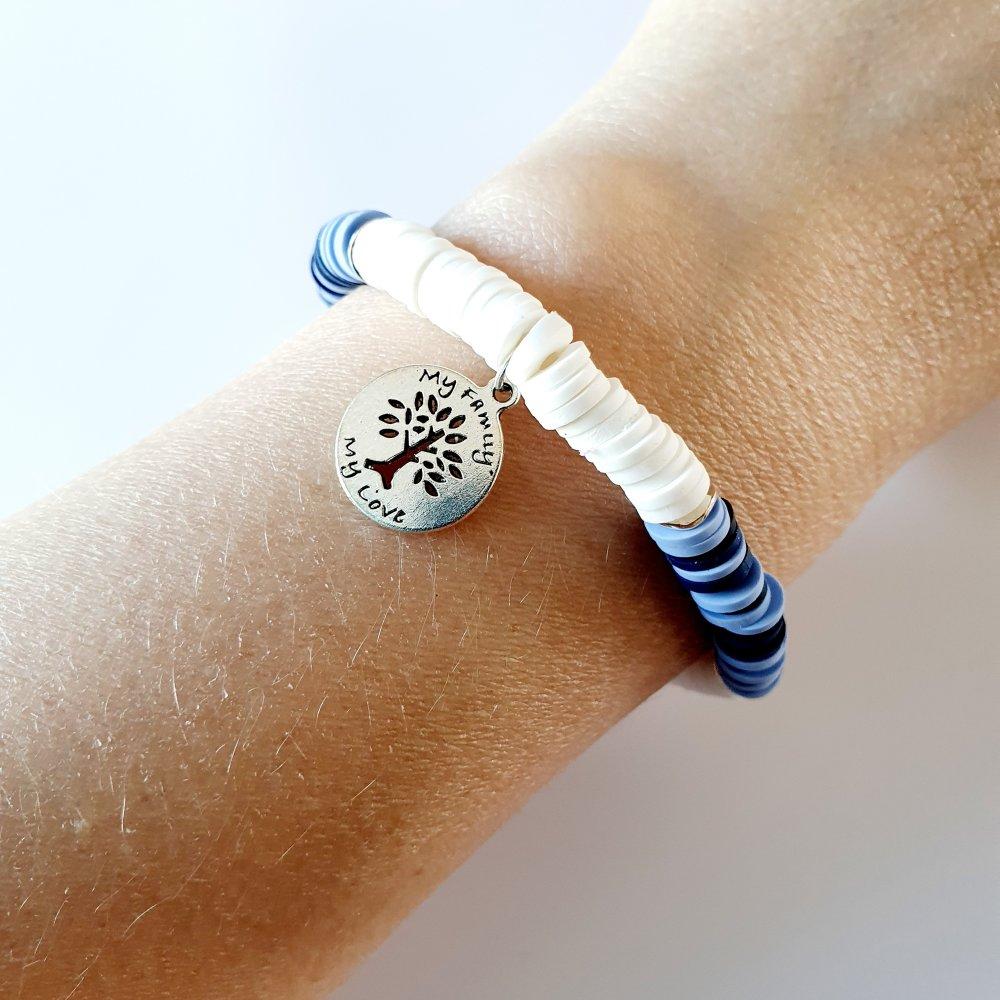 Bracelet arbre de vie heishi blanc bleu - élastique - idée cadeau fête des mères anniversaire noël fêtes