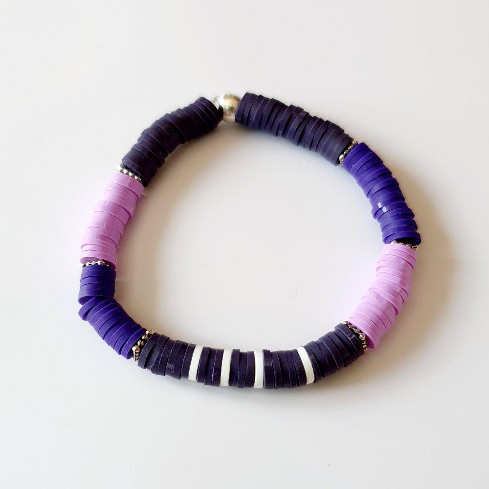 Bracelet arbre de vie heishi violet violine - élastique - idée cadeau fête des mères anniversaire noël fêtes