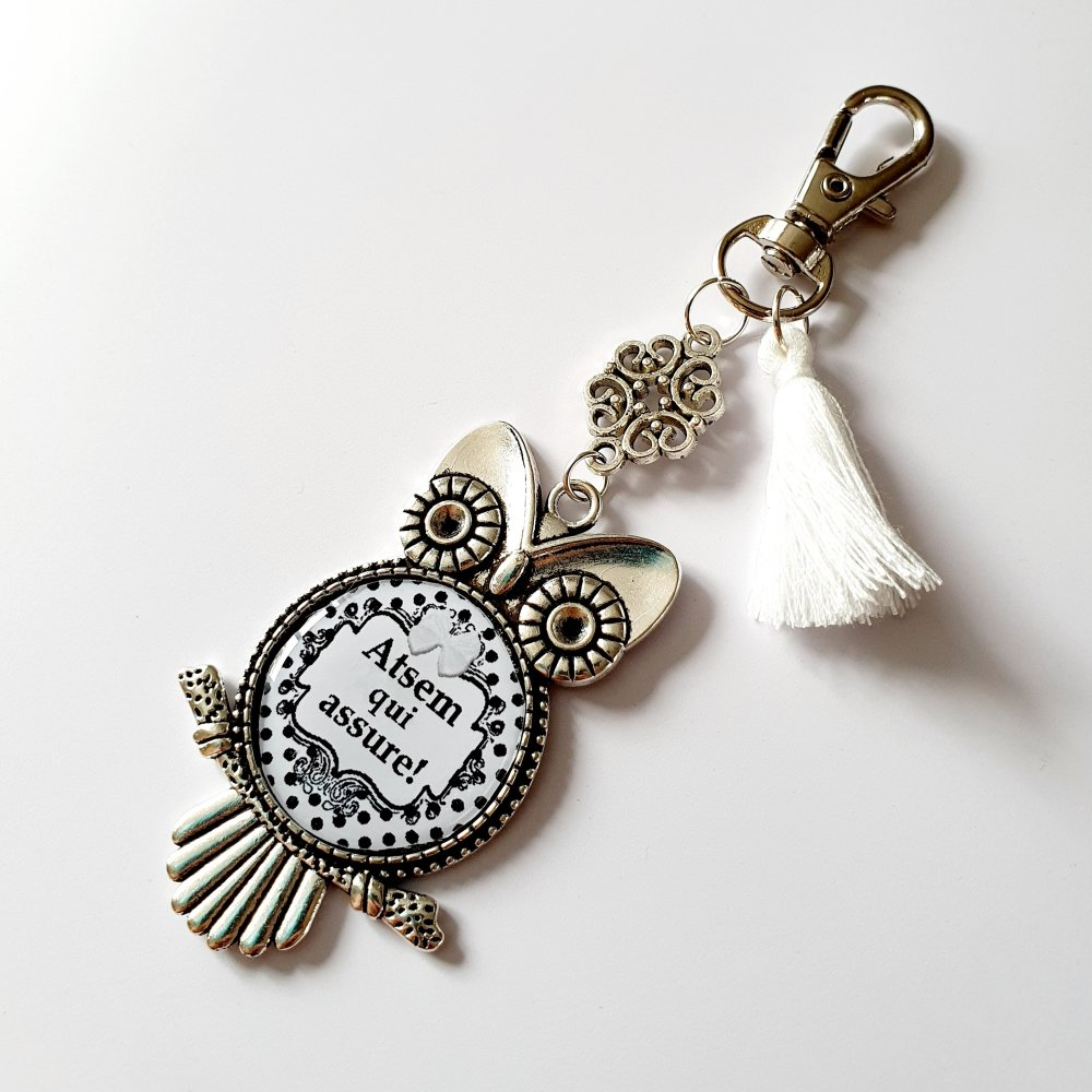 Porte-clef ATSEM QUI ASSURE hibou chouette pompon blanc Idée cadeau fin d'année scolaire remerciements